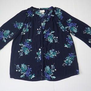 NWOT Ava & Viv Navy Blue Floral Button Up Blouse